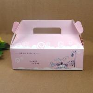 China Folding Pink Paper Cake Packaging Box With Handle , Custom Design Cake Box wholesale
