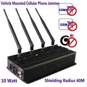 China Vehicle Mounted Desktop 4 Antenna Mobile Phone 3G GSM CDMA Jammer W/ 10 Watt & 40M Range wholesale