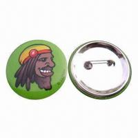 China Pin Button Badge, Made of Paper, Tinplate and Pin, Non-toxic and Eco-friendly wholesale