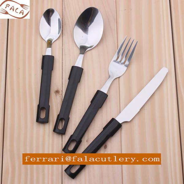 24pcs Heavy Duty Hanging Black Plastic Handle Cutlery