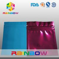 China Three Side Blue / Red Small Foil Pouch Packaging Zipperlock , Laminated wholesale