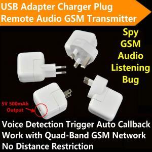 China Mini AC Adapter Charger US/EU Plug Hidden Spy GSM SIM Remote Audio Transmitter Listening Ear Bug W/ 5V USB Output wholesale