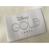 China Disney Gold Bage End Fold Woven Clothing Labels Cold Cut / Heat Cut wholesale