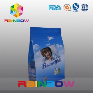 China Custom Printed Flat Bottom Plastic Bags , Quad Seal Block Bottom Bag With Clear Window wholesale