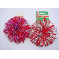 "China Professional 3.5"" Red Velvet Fancy Holly Confetti Sticker Bow with Flocked ribbon wholesale"