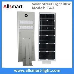 China 30W Aluminum Solar Street Light All in One Integrated Solar LED Street Light Motion Sensor Solar Driveway Lights Roadway wholesale
