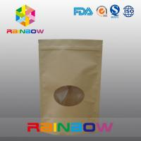 China Customized Size Plain Brown Zipper Top Kraft Paper Bags For Pepper Snack With ROUND Window on sale