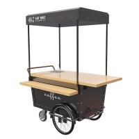 China Coffee Hand Push Cart Vendor With 304 Stainless Steel Work Table wholesale
