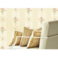 China Concise European Flower Strippable Living Room Wallpaper With Vertical Striped wholesale