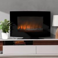 """China 35"""" Curved Tempered Glass Wall Mounted Electric Fireplace Heater EF-11A/EF-11B LED FLAME EFFECT WITH BACK LIGHTS wholesale"""