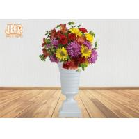 China Modern Trumpet Polyresin Wedding Centerpiece Table Vase Glossy White 82CM Height on sale