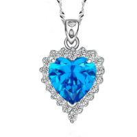 China Sterling Silver Created Blue Topaz Heart Pendant Necklace for Women (N12281) wholesale