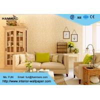 China Flocking Modern Removable Wallpaper for Living Room with Warm Beige Floral wholesale