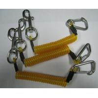 Strong safety wire coiled lanyard rope yellow with silver snap hook and carabiner for tool