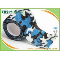 China Blue Colour Camouflage Printing Non Woven Cohesive bandage Pre Wrap for Army Camping Hunting wholesale