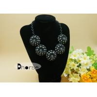 China Black Diamante Flower Alloy Handmade Beaded Necklaces For Women Decoration wholesale