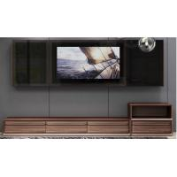 2017 New Walnut Wood Furniture Design Living room Combined TV Wall Units by Tall