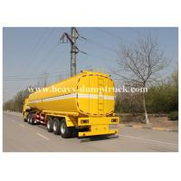 China Single compartment small fuel tanker semi trailer three axles 36000 liters Yellow color wholesale
