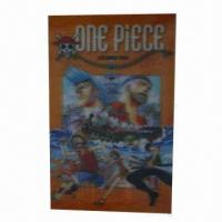 China Lenticular sticker/3D cartoon sticker, 3D function, adhesive paper back, customized designs/sizes wholesale