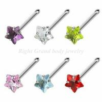 China Star CZ Shaped Non - Allergic Gem Body Piercings Jewelry Nose Studs For Wedding on sale