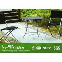 China Rustic Steel Patio Outdoor Furniture Garden Table And Chairs Set Black / Brown Color wholesale