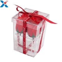 China Flower Packing Clear Acrylic Box Display Cases Organizer Rose Gift Box With Cover wholesale
