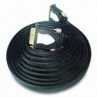China Flat DVI Plug to DVI Plug Cable with Nylon Braiding and Double Mold Plastic Shell wholesale