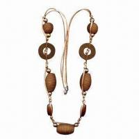 China Custom Necklace, Made of Wooden Rings, Plastic Beads and Cotton Cord, with Lobster Clip at Each Side wholesale