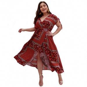China Bohemian Short Sleeve Plus Size Dress N1P83147 Clothing Ankle Length on sale