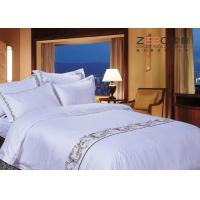 China Logo Embroidery Satin White Hotel Bed Linen Soft Top Grade 400TC wholesale