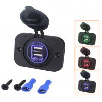 China Two LED Light Rings 4.2A Dual Socket Mobile Phone Power Adapter USB Car Chargers for Motorcycle Bus Marine on sale
