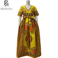 China Modern African Print Dresses Dashiki For Elegant V - Neck Classical Print Sleeveless wholesale