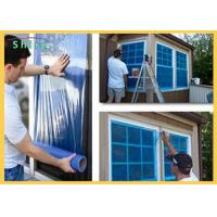 China Clear Adhesive Blue Plastic PE Window And Glass Surface Protection Film Temporary on sale
