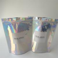 Quality Garment Holographic Foil Pouch Packaging Ziplock Clear Front For Sock / for sale