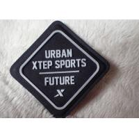 China Import fabric with sewing on silicone rubber logo patch on outdoor wear wholesale