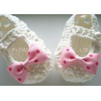 China Creme Crochet Baby Shoes Hollow Out With Lace Bowknot , Knitted Baby Girl Shoes wholesale