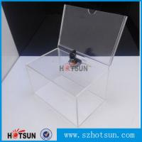 Quality Custom box Plexiglass acrylic donation/tips/sugguestion box with sign holder for sale