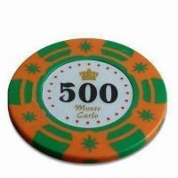 China Poker Chip, Customized Stickers, Logos and Colors are Accepted, Measures 4 x 0.34cm wholesale