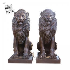China Bronze Lion Statues Sitting Lion Garden Animals Sculpture Life Size Outdoor Decoration wholesale