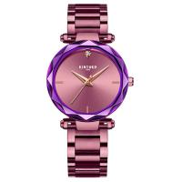China Fashion Purple Quartz Ladies Watch Good Luster Stainless Steel Band on sale