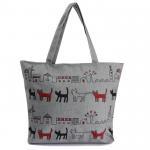 China Print Animal Cartoon Womens Canvas Shopper Bag With Shoulder Straps wholesale