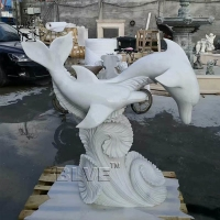 China Large White Marble Dolphin Statue Stone Garden Animal Sculpture wholesale