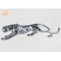 China Home Decor Silver Leafed Polyresin Animal Figurines Fiberglass Leopard Sculpture wholesale