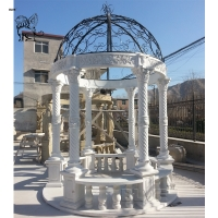 China Marble Gazebo White Garden Stone Roman Relief Columns Hand Carved With Iron Dorm wholesale