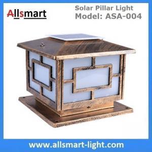 China Square Aluminum Solar Pillar Lights Bronze Lampshade Solar Brick Column Post Lamp Solar Welcome Lighting China Factory wholesale