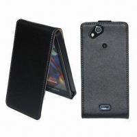 China Leather Flip Cases for Sony Ericsson Xperia Arc, Stylish, Form Fitting and Durable wholesale