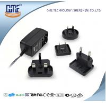 China US AU UK EU Interchangeable plug Wall Mounted 24W AC DC Power Adapter With LED Light wholesale