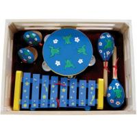 China Kawai Kids Musical Instrument With Wooden Box Outfit Four Pcs Simple Percussion Toy wholesale