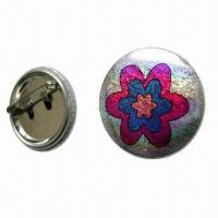 China Tin Pin Button Badge with CMYK Color Offset Printing and Safety Pin, Customized Designs are Accepted wholesale