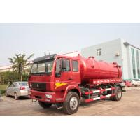 China Red 4×2 Sewer Removal Truck / Septic Vacuum Trucks With Volume 10 M3 Tank \ wholesale